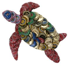 This unique turtle wall plaque is made with recycled metal bottle caps which come in various colors. This bottle cap plaque is handmade by artisans in Kenya.