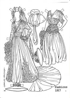 Pattern Book Fashions 1917 Paper Dolls coloring page by Charles Ventura - Maria Varga - Picasa Web Albums History Culture Social Studies Paper Art, Paper Crafts, Paper Dolls Printable, Vintage Paper Dolls, Art Nouveau, Art Deco, Coloring Book Pages, Coloring Sheets, Colored Paper