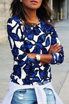 cc65d0ce96e SheIn offers Round Neck Leaves Print Sweatshirt   more to fit your  fashionable needs.