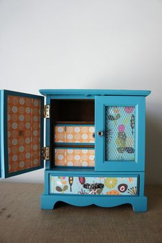 Upcycled Hand Painted Dark Turquoise Vintage Jewelry Box