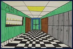 colored one point perspective drawing - Google Search