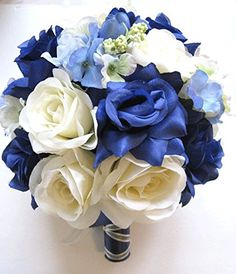 "Wedding Flowers Silk Bridal Bouquet NAVY WHITE BLUE Periwinkle 17 Piece package Artificial flower arrangements decoration ""RosesandDreams"" RosesAndDreams.com http://www.amazon.com/dp/B01A5Z5IC4/ref=cm_sw_r_pi_dp_ZBDVwb04YAKXS"