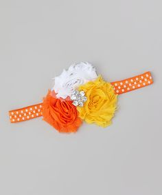 This Orange & Yellow Shabby Candy Corn Headband by Miss Fancy Pants is perfect! #zulilyfinds