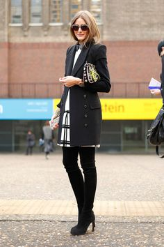 Olivia Palermo Black Angle Shoes Perfect Length Skirt And Coat