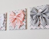 Items similar to SET of TWO Large Light Pink Bow and Large Grey Bow on Pink, Gray and White Chevron 12 Canvas Wall Art- Baby Nursery Wall Decor- Zig Zag on Etsy Nursery Wall Decor, Baby Decor, Nursery Room, Baby Room, Nursery Grey, Baby Girl Nursery Pink And Grey, Purple Baby, Bedroom Art, Nursery Design