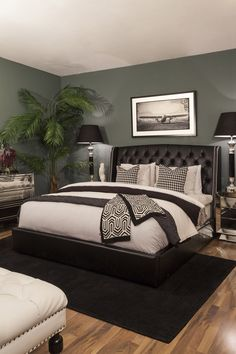 Bedroom accessories give an edgy touch to your interior. Shop & choose the best accessories from a large collection only at THE One. Grey Green Bedrooms, Green And White Bedroom, Green Bedroom Walls, Green Bedroom Decor, Black Bedroom Furniture, Bedroom Wall Colors, Green Rooms, Bedroom Ideas, White Leather Furniture