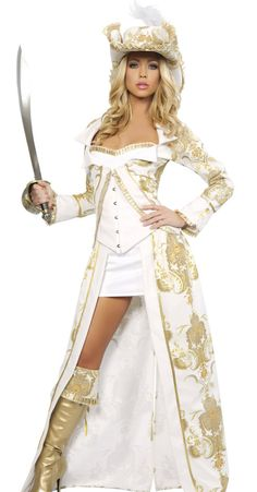 Adult+Pirate+Costumes | Sexy Womens Deluxe Pirate Queen Halloween Fancy Dress Costume 14-16 ...