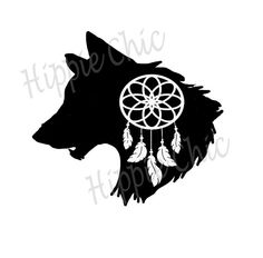 wolf dream catcher vinyl decal by HippieChicsMakings on Etsy
