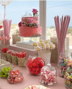 Ideas for cake/candy table Ideas for cake/candy table 13th Birthday Parties, 14th Birthday, Pink Birthday, Sweet 16 Birthday, Birthday Party Decorations, Candy Bar Comunion, Wedding Candy Table, Birthday Goals, Candy Party