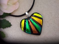 Fused dichroic Glass Pendant and by SunlightGlassJewelry on Etsy, $27.00
