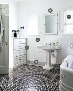 LOVE the gorgeous Ann Sacks mosaic bathroom tile floor edged in a band of marble. {PHOTO: Donna Griffith}