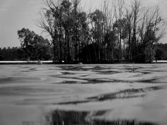 Um lago espelhado.