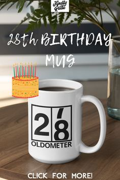 This oldometer mug is great as a funny 28th birthday gift. It's perfect for a friend or a coworker and it's inexpensive and cute, just right for celebrating 28 years. #funny28thbirthday #28yearsold #28birthdaymug #mug28birthday #funny28birthdaycoffeemug