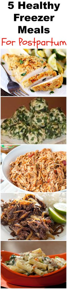 5 Healthy Freezer Recipes To Help You Postpartum. Easy, delicious & healthy recipes you can freeze while pregnant to help lose your babyweight postpartum. Healthy Freezer Meals, Make Ahead Meals, Freezer Cooking, Healthy Chicken Recipes, Baby Food Recipes, Crockpot Recipes, Healthy Snacks, Healthy Eating, Freezer Recipes