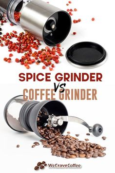 Spice grinder vs. coffee grinder: What are the differences? Can you actually use a spice grinder in place of a coffee grinder? Stainless Steel Coffee Maker, Grinding Coffee Beans, Coffee Grinders, Spice Grinder, Spices And Herbs, Drying Herbs, Brush Cleaner, Brewing, Canning