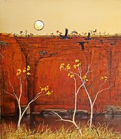 Kapok and Yellowtails Contemporary Abstract Art, Abstract Landscape, Landscape Paintings, Watercolor Paintings, Landscapes, Australian Painting, Australian Artists, Painting Inspiration, Art Inspo