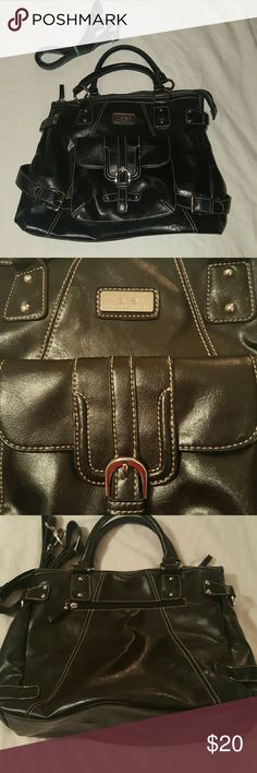 Perfect condition.  Black faux leather purse This purse is in perfect condition,  no signs of wear. Includes shoulder strap. All working zippers. Great bag. Elle Bags