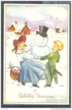 PZ154 New Year COUPLE D'ENFANTS BONHOMME De NEIGE CHILDREN SNOWMAN - Fantaisies