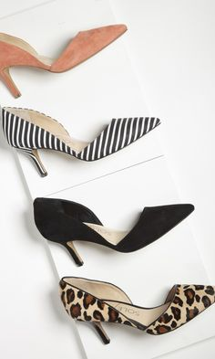 d'Orsay mid heel with a pointed toe and ultra-walkable heel. The epitome of office-to-out.