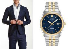 Reloj Caballero CITIZEN CORSO, eco-drive, caja y extensible acero bicolor, cristal mineral, fechador, WR100