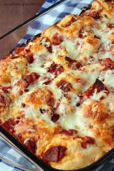 Pizza Night: an easy dinner and dessert combo! TWO recipes, including Impossibly Easy Meat Lovers Pizza Bake and S'mores Skillet Cookie. #GetYourBettyOn www.thereciperebel.com