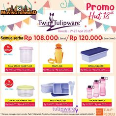 3 M - Promo HUT Twin Tulipware ke-18 tahun 2018. Semua serba harga Rp.108.000,-  3 M - Murah | Meriah | Mantap    #tulipware #twintulipware #tulipwaremurah #tulipshop  www.twintulipwareindonesia-tambun.com