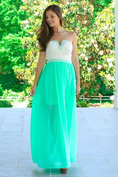 Your Carriage Awaits Maxi Dress-Spearmint - Dresses | The Red Dress Boutique