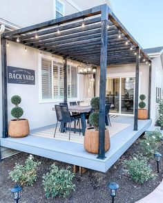 Back Patio, Backyard Patio, Backyard Landscaping, Outdoor Dining Chairs, Outdoor Living, Outdoor Decor, Outdoor Furniture, Furniture Ideas, Gray Dining Chairs