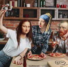 Mona lisa Vincent Van Gogh vermeer on We Heart It Arte Van Gogh, Van Gogh Art, Johannes Vermeer, Mona Lisa Parody, Arte Fashion, Mona Lisa Smile, Art Jokes, Cartoon Jokes, Photocollage