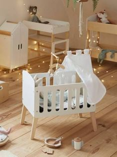 Dreams Beds, Doll Beds, Wooden Dolls, White Bedding, Bassinet, Canopy, Kids Toys, Toddler Bed, Room