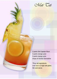 Mai Tai ~ Ingredients: 2 parts Old Captain Rum 3 parts orange juice 3 parts mango juice drops of orchid grenadine Other Meat Recipes, Beef Recipes For Dinner, Side Dish Recipes, Mexican Food Recipes, Healthy Low Calorie Meals, Low Calorie Recipes, Non Alcoholic Drinks, Fun Drinks, Beverages