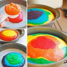 How to bake a rainbow cake by Aleta #halftermfun