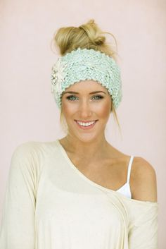Mint Crystal Knitted Headband-headband-Affordable Online Boutique | Cute + Trendy Women's Clothes - 3