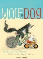 (Gecko Press) Wolf and Dog are cousins. Wolf is wild and Dog is tame. Wolf lives in a forest on top of a hill.