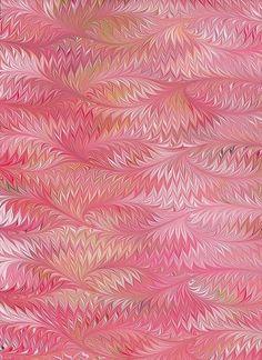 Marbled Paper, handmade pink bird wing pattern