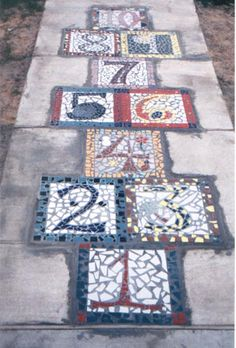 mosaic hopscotch - would be fun for a garden path.