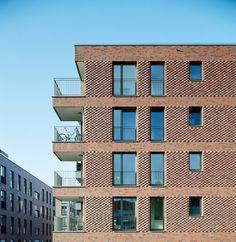 © Dorfmüller I Klier, Hamburg Brick Design, Facade Design, Exterior Design, Brick Architecture, Residential Architecture, Brick Projects, Brick Masonry, Brick Detail, Brick Texture