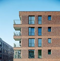 © Dorfmüller I Klier, Hamburg Brick Design, Facade Design, Exterior Design, Brick Architecture, Residential Architecture, Brick Projects, Brick Detail, Brick Masonry, Brick Interior