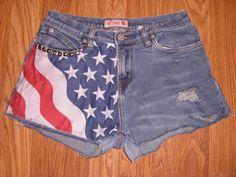 High-Waisted Cutoff Distressed Denim Shorts w/ American Flag Pattern & Studs