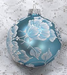 Soft Blue Hand Painted 3D Floral MUD Ornament by MargotTheMUDLady
