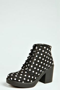 Laurie Polka Dot Print Lace Up Boots - Chaussures Polka Dot Print, Polka Dots, Polka Dot Rain Boots, Foot Locker, Lace Up Boots, The Ordinary, Passion For Fashion, Heeled Mules, Peep Toe