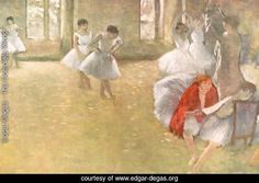 Dancers in the Rehearsal Hall - Edgar Degas Reproduction