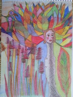 A fa. Akvarell ceruza. A4 Papír. Artist: Balogh Krisztina