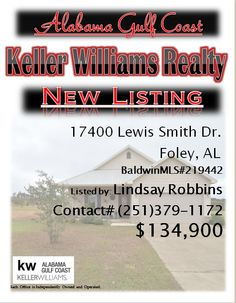 17400 Lewis Smith Dr. Foley...MLS#219442...$134,900...3 Bed 2 Bath...Charming cottage in Hidden Lakes subdivision. This is a must see! Well laid out 3/2 floor plan. Neighborhood has community tennis courts, pool and outdoor grilling area. Make your appointment today! This one will not last long! Please Contact: Lindsay Robbins @ 251-379-1172