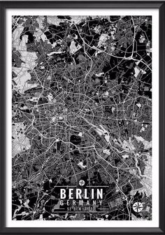 """Berlin Germany Map with Coordinates _______________________________ - Print size available in: 13"""" x 19"""", 12"""" x 18"""", 11"""" x 14"""", 8"""" x 10"""", 6"""" x 8"""", or 5"""" x 7"""". Example shown is 13"""" x 19"""". - Printed ont"""
