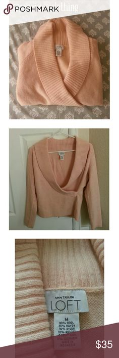 SALE!CASHMERE BLEND PINK SWEATER | Ann Taylor LOFT This is a cozy, pink sweater from LOFT ( Ann Taylor). This sweater is perfect for the Autumn/Winter. This sweater is in great condition! Fabric: 5% Cashmere 10% Angora Rabbit Hair 15% Nylon 20% Rayon 50% Wool  Feel free to make an offer. No trades.  Please don't advertise your closet. Ann Taylor Loft Sweaters