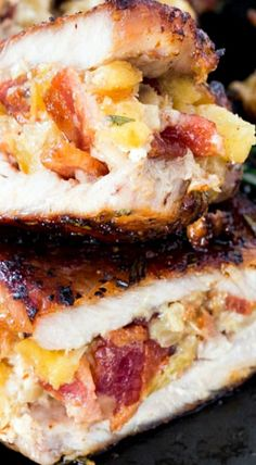 Apple Bacon and Blue Cheese Stuffed Pork Chops – thick cut pork chops stuffed with a delicious stuffing made with apples, bacon and blue cheese.