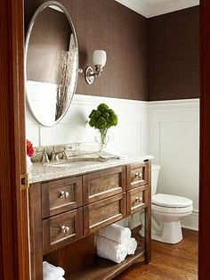 Love the walls, mirror and vanity.   Not that color though.
