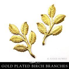Brass Branch with Birch Leaves Embellishment. Nunn Design – Annie Howes