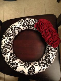 Fabric Wreath Made to order by tmellington on Etsy, $20.00  Cute!! I might do as a steering wheel Cover or circle picture board